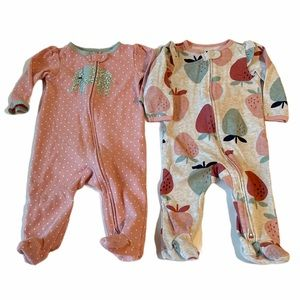 5/$20 Carter's pink and gray footies 6 months